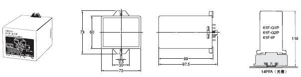 61F-G□P 外形尺寸 2 61F-GP_Dim