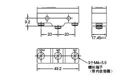 X 外形尺寸 3 螺丝端子 (-B)_Dim