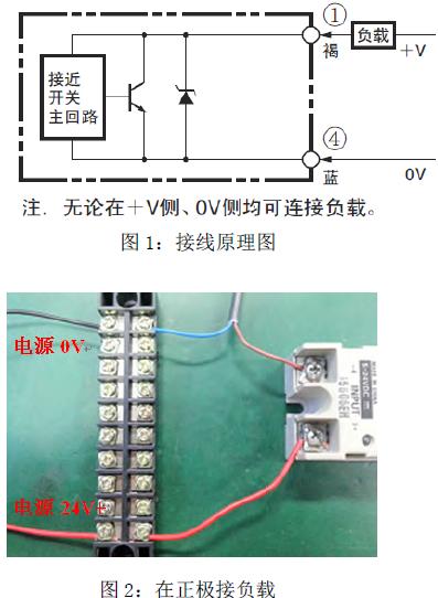 n 型接近开关的接线(以e2e-x5e1 为例) 请参考图1 接线原理图及图图片